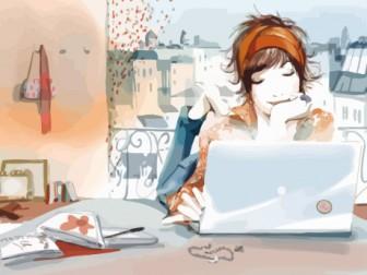 девушка ноутбук и интернет