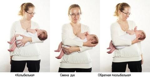 держим новорожденного на руках колыбелька
