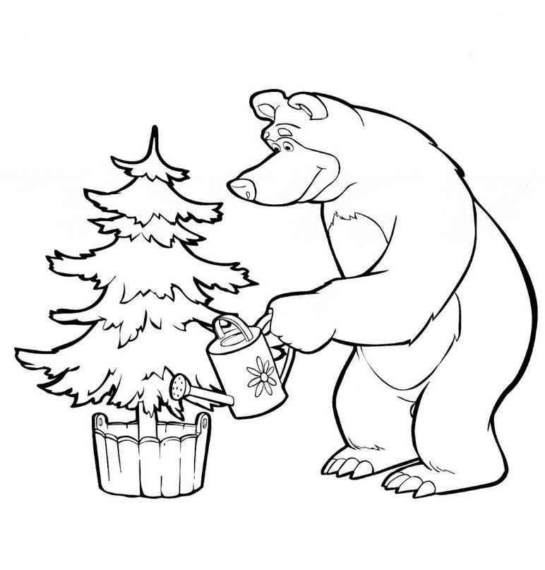 Раскраска в компьютере маша и медведь