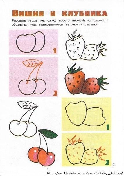 рисуем вишню и клубнику