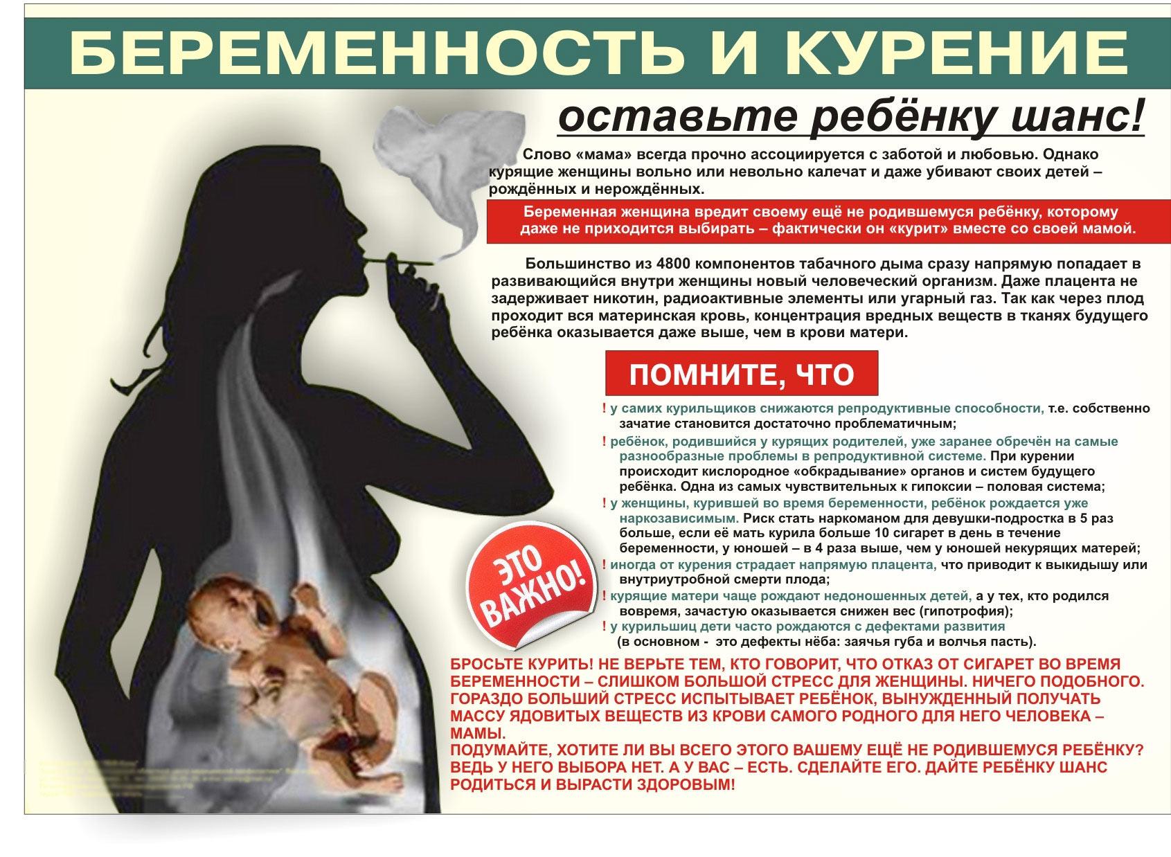 Вред от курения беременных 980