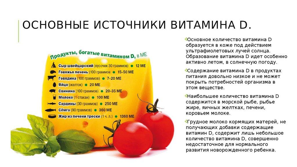 продукты богатые витамином d таблица
