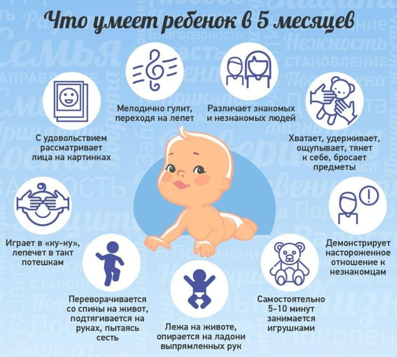 Что умеет ребенок в 5 месяцев