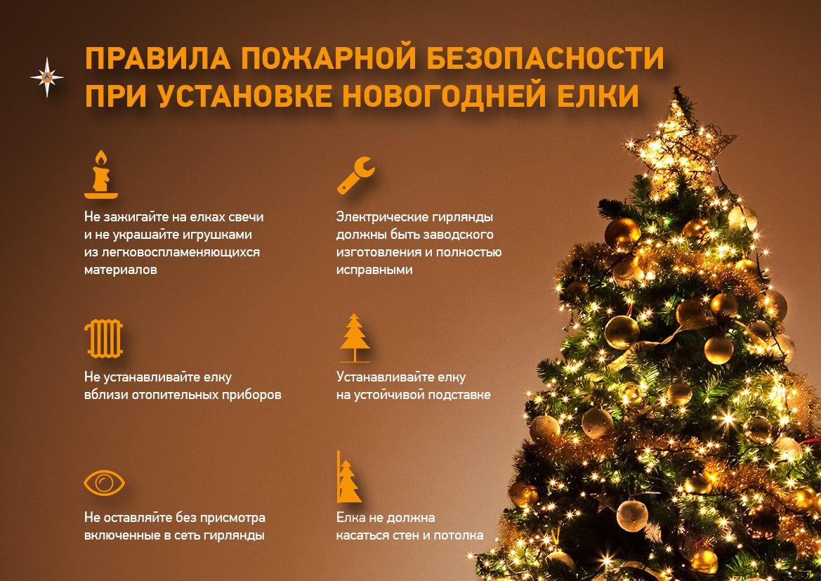 правила пожарной безопасности при установке новогодней елки